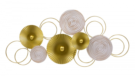 Decoratiune pentru perete, cu cercuri Aurii si Albe din metal 83x37 cm0