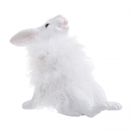 Decoratune iepure, cu blana Alba, 16x7x14 cm3