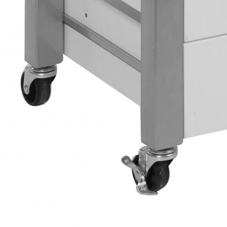 Dulap alb cu sertare MDF, picioare metal si blat inox,suport pentru 7 sticle vin , roti cu sistem blocare, Dim  60x50X84 cm5