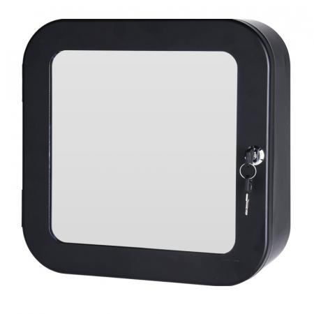 Dulap Metalic Negru cu oglinda aplicata pe usa, cu 2 rafturi si incuietoare cheie, depozitare Kit trusa Prim Ajutor, Protectia Muncii, 32x32x11.5 cm, G2kg1