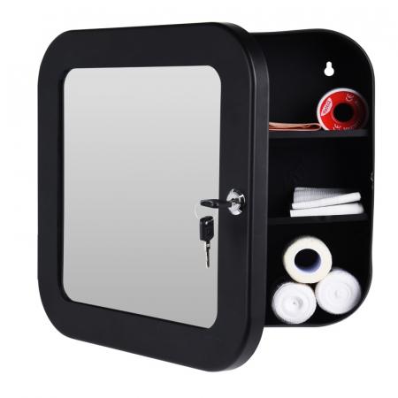 Dulap Metalic Negru cu oglinda aplicata pe usa, cu 2 rafturi si incuietoare cheie, depozitare Kit trusa Prim Ajutor, Protectia Muncii, 32x32x11.5 cm, G2kg0