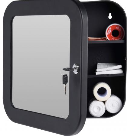 Dulap Metalic Negru cu oglinda aplicata pe usa, cu 2 rafturi si incuietoare cheie, depozitare Kit trusa Prim Ajutor, Protectia Muncii, 32x32x11.5 cm, G2kg2