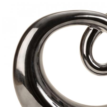 Figura decorativa sculptura moderna din ceramica, albastru metalizat cu baza neagra, 31x33 cm [2]