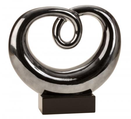 Figura decorativa sculptura moderna din ceramica, albastru metalizat cu baza neagra, 31x33 cm0