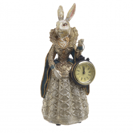 Figurina iepure, din polirezina cu ceas, 11x10x24 cm0