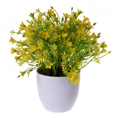 Flori Artificiale Galbene in ghiveci, Aspect natural D15cm, H totala 24cm, Rezistente la umiditate, Aspect natural D15cm, H totala 24cm0