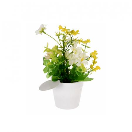 Flori artificiale in ghiveci alb 13,5 x7 cm culoare alba1