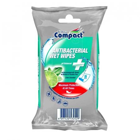 Servetele Antibacteriene umede pentru maini, 15 buc/set, Lime, Dezinfectante, Ultra Compact, fara Alcool sau Parabent0