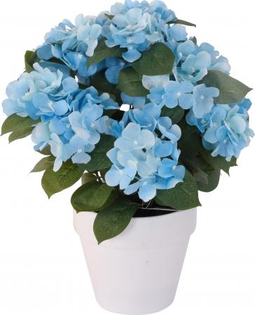 Hortensie Artificiala decorativa, culoare Albastra cu frunze Verzi in ghiveci Alb, de interior sau exterior, rezistente la Umiditate, D floare 37 cm, D ghiveci15 cm1