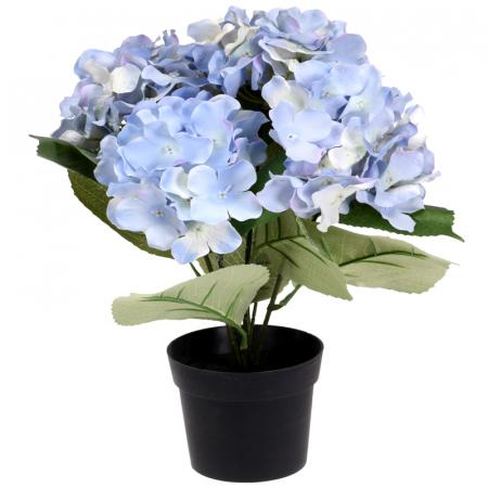 Hortensie Artificiala Bleu, in ghiveci Negru, 26x10 cm0