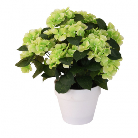 Hortensie Artificiala, Verde Deschis, decorativa, cu frunze Verde inchis in ghiveci Alb, de interior sau exterior, D floare 37 cm, D ghiveci15 cm1