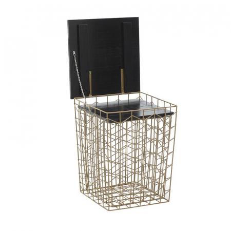 Masa cafea din metal, cu blat din lemn, Auriu/Negru,41x41x52 cm4