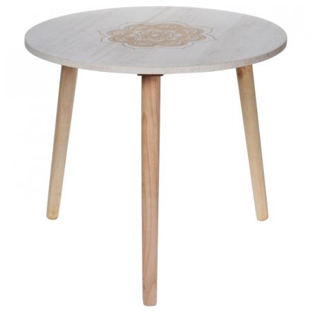 Masa din MDF, Alba, diametru 49 cm, picioare din lemn brad, inaltime 42 cm1