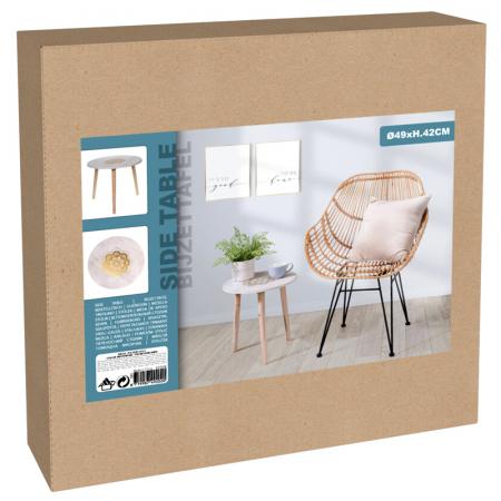 Masa din MDF, Alba, diametru 49 cm, picioare din lemn brad, inaltime 42 cm2