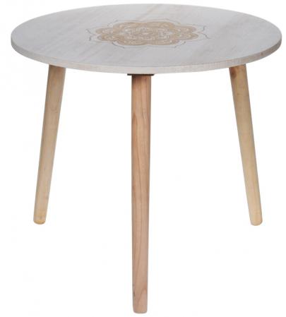 Masa din MDF, Alba, diametru 49 cm, picioare din lemn brad, inaltime 42 cm0