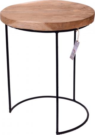 Masa cu blat din lemn de Teak, cu picioare din metal, diametru 38 cm, inaltime 45 cm0