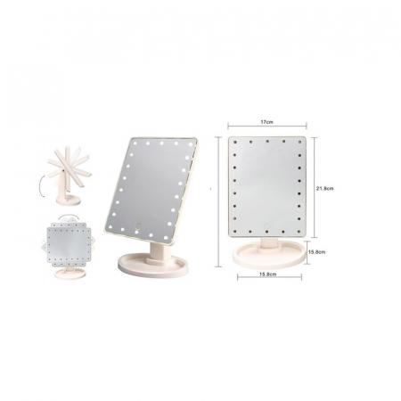 Oglinda 16 LED-uri, pentru Machiaj, cu Buton Tactil, NAGO, 16 lumini, Rotatie de 180º, cu Picior, baza cu depozitare de Bijuterii, Efect de Marire, Dreptunghiulara, 17x12cm H 27cm, Alba4
