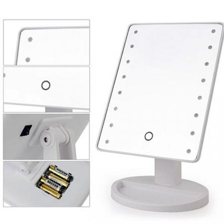 Oglinda 16 LED-uri, pentru Machiaj, cu Buton Tactil, NAGO, 16 lumini, Rotatie de 180º, cu Picior, baza cu depozitare de Bijuterii, Efect de Marire, Dreptunghiulara, 17x12cm H 27cm, Alba5