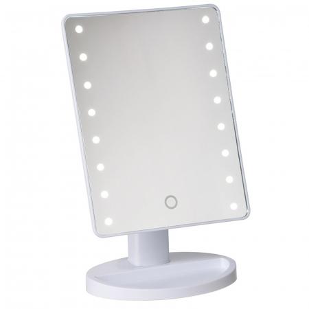 Oglinda 16 LED-uri, pentru Machiaj, cu Buton Tactil, NAGO, 16 lumini, Rotatie de 180º, cu Picior, baza cu depozitare de Bijuterii, Efect de Marire, Dreptunghiulara, 17x12cm H 27cm, Alba0