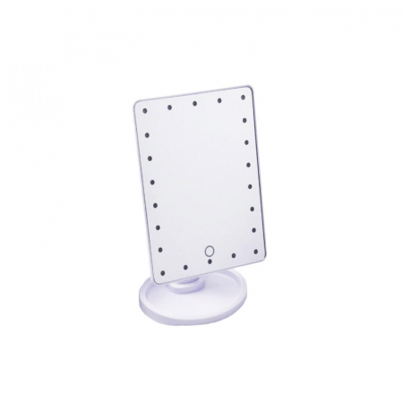 Oglinda 16 LED-uri, pentru Machiaj, cu Buton Tactil, NAGO, 16 lumini, Rotatie de 180º, cu Picior, baza cu depozitare de Bijuterii, Efect de Marire, Dreptunghiulara, 17x12cm H 27cm, Alba2