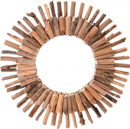 Oglinda 60 cm, rama din lemn Driftwood, maro, greutate 1.85 kg0