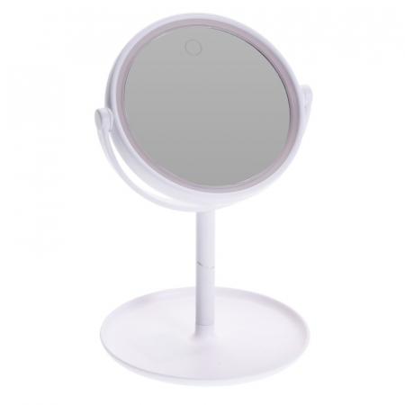 Oglinda cosmetica cu led Dim H 27cm x  Diam 16.5 cm , polistiren, cablu USB 50 cm inclus0