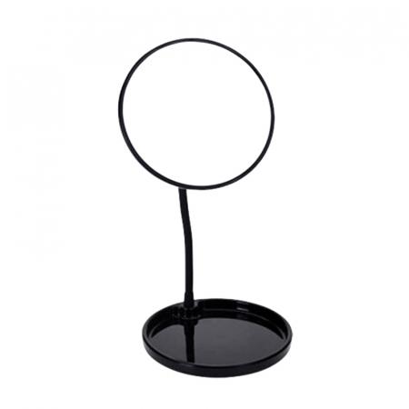Oglinda cosmetica cu picior, inaltime 29 cm, oglinda si baza de diametru 14 cm, material silicon , metal, culoare negru [1]