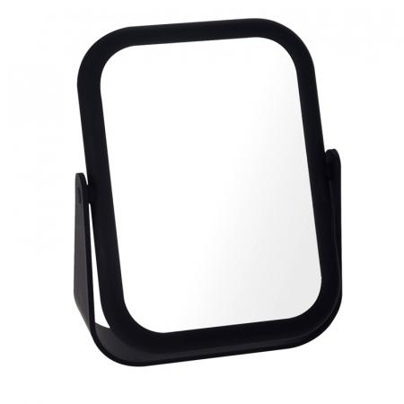 Oglinda cu fata dubla, o fata marire x3, rama cauciuc culoarea neagra, dimensiuni 18x14 cm3