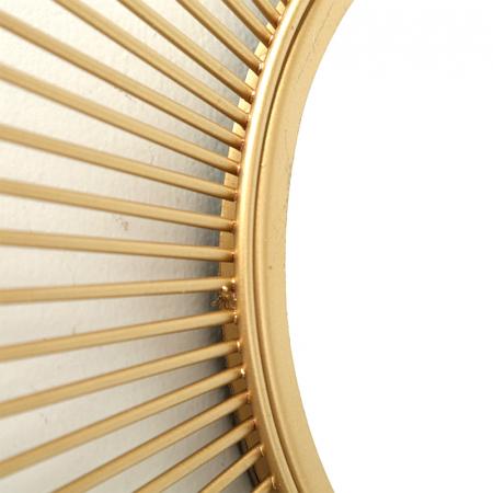 Oglinda de perete din Metal cu rama Aurie, model Soare, D 32.5 cm [3]