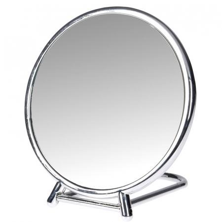 Oglinda fata dubla, o fata marire x2,  rama plastic argintie  diametru 14.5 cm1