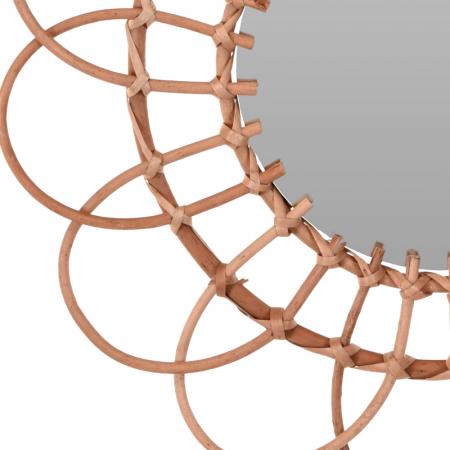 Oglinda in forma de floare, rama impletita din trestie, diametru 49 cm6