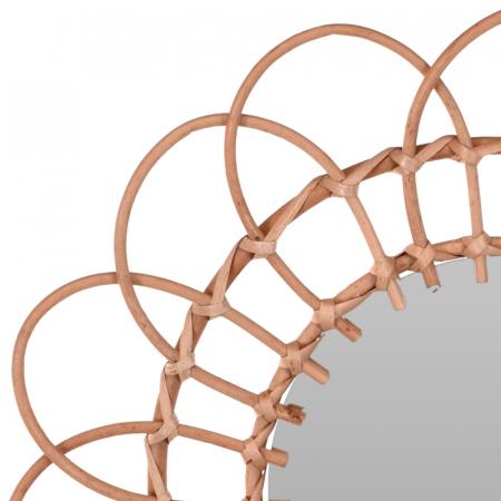 Oglinda in forma de floare, rama impletita din trestie, diametru 49 cm2