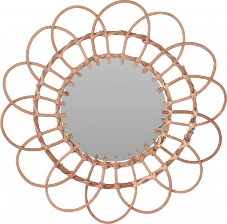 Oglinda in forma de floare, rama impletita din trestie, diametru 49 cm4