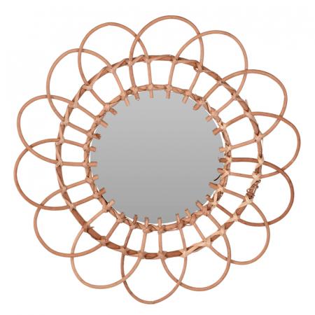 Oglinda in forma de floare, rama impletita din trestie, diametru 49 cm1