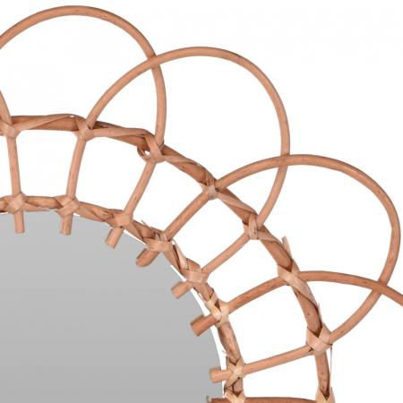 Oglinda in forma de floare, rama impletita din trestie, diametru 49 cm3