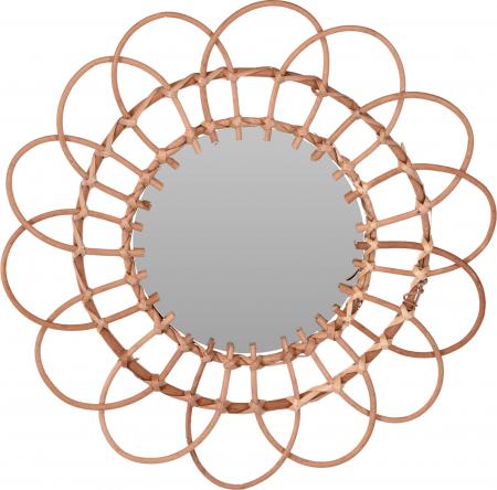 Oglinda in forma de floare, rama impletita din trestie, diametru 49 cm0