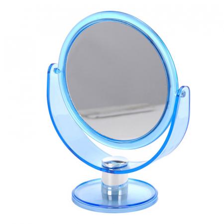Oglinda Machiaj cu 2 fete, 1 cu marire x2, rama din plastic, Albastru transparent, 18.5x24cm [0]