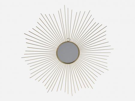 Oglinda decorativa din metal, culoarea Auriu, Diam 64 cm2