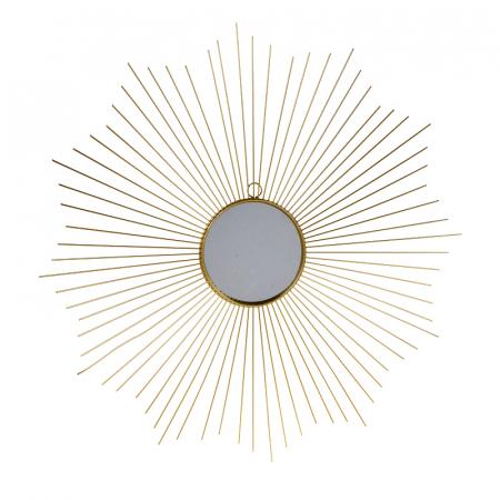 Oglinda decorativa din metal, culoarea Auriu, Diam 64 cm0