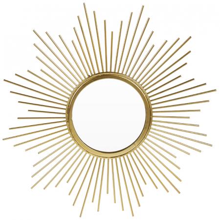 Oglinda de perete din Metal cu rama Aurie, model Soare, D 32.5 cm [1]