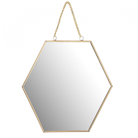 Oglinda rama metal aurie forma fagure 25 cm1
