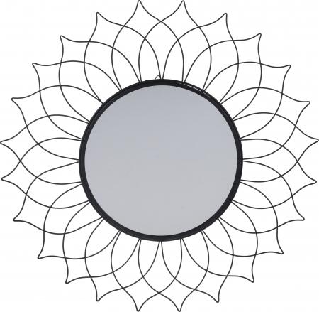 Oglinda de perete, rama metal Neagra, cu agatatoare, stil Modern, D 50 cm x 1 cm0