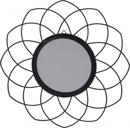 Oglinda rama metal neagra, forma floare, diametru 26 cm1