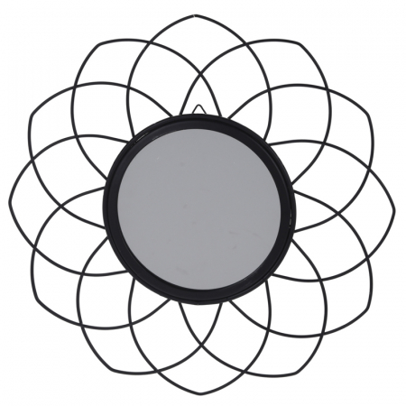 Oglinda rama metal neagra, forma floare, diametru 26 cm0