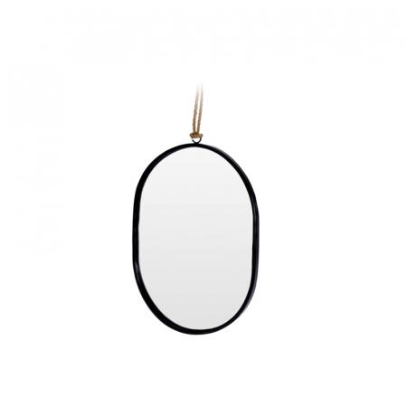 Oglinda rama Neagra, din metal, ovala, 25.5x18.5 cm2