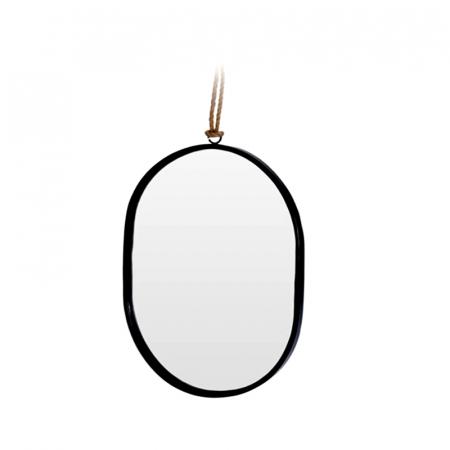 Oglinda rama Neagra, din metal, ovala, 25.5x18.5 cm0