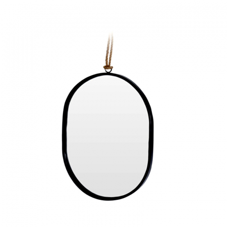 Oglinda rama Neagra, din metal, ovala, 25.5x18.5 cm3