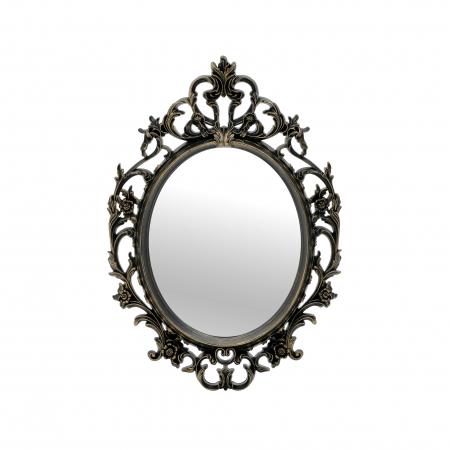 Oglinda rama plastic, culoare Auriu Antichizat, 38x54 cm0