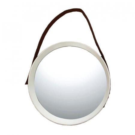 Oglinda rotunda de perete, cu rama Alba si o curea din piele Maro0