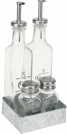 Oliviera 4 piese cu 2 sticle pentru ulei si otet 26x5x5 cm, solnita si pipernita 5x4x9,5cm0